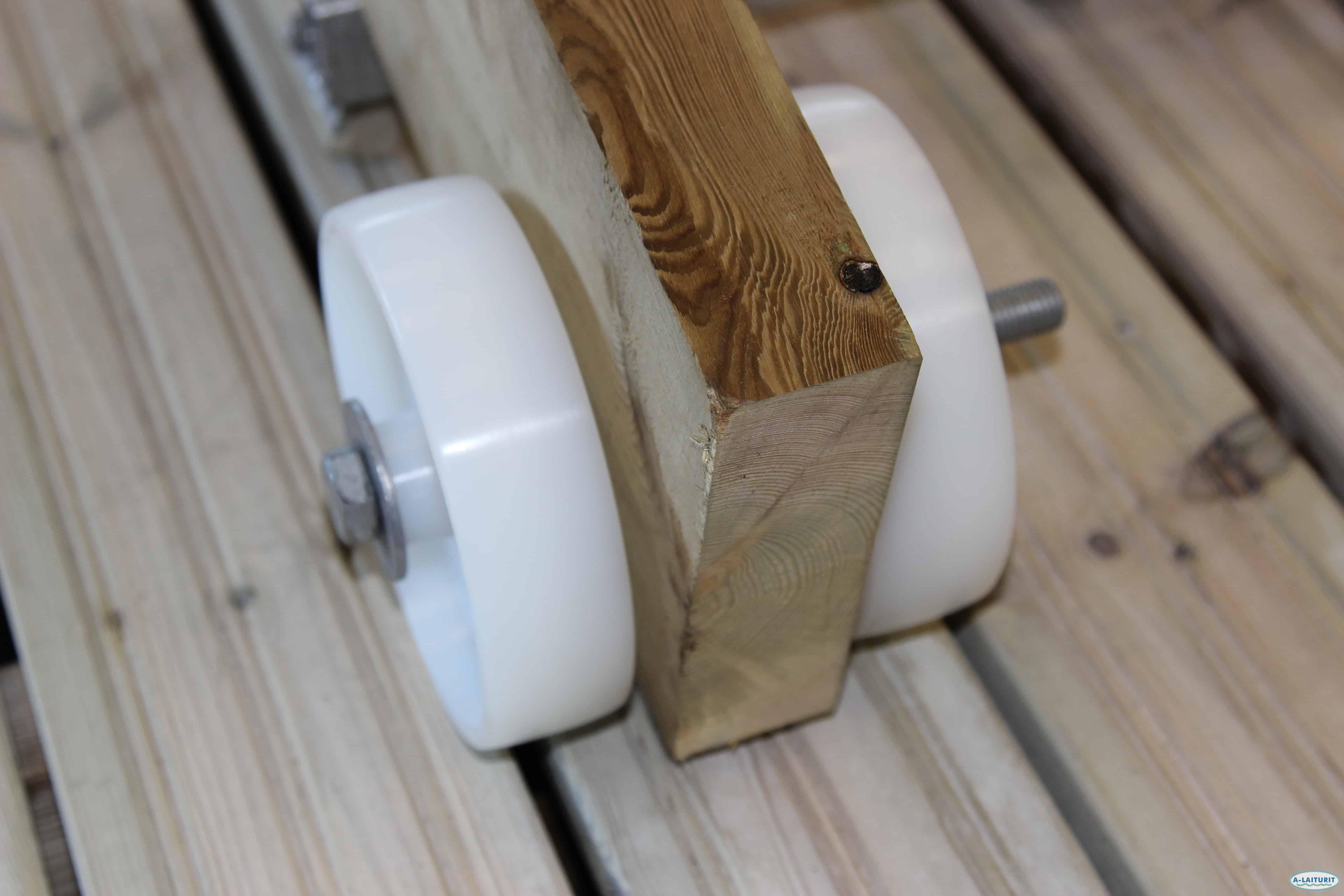 Nylonhjul för landgång 150 mm, Par inkl. fästelement